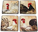 Certified International Avignon Rooster Canape Plate, Assorted Designs, 6-Inch, Set of 4