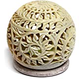 Artist Haat Handcarved Soapstone Round Small Tea Light Candle Holder With Floral Jali - Lattice Work (Beige, 9...