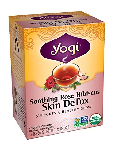 Yogi Skin DeTox Tea, Soothing Rose Hibiscus, 16 Tea Bags (Pack of 6)