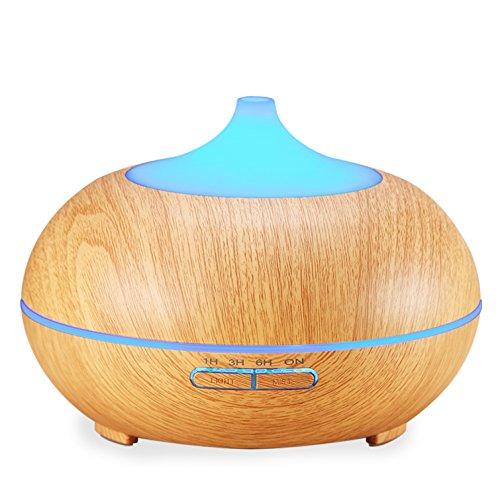 Amir® アロマディフューザー 超音波式 加湿器 アロマポット ライト 多色変換LED付き 木目 300ml大容量
