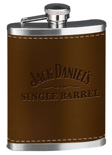 Jack Daniel's Licensed Barware Single Barrel Leather Flask (Jack Daniels Barrel Flask compare prices)