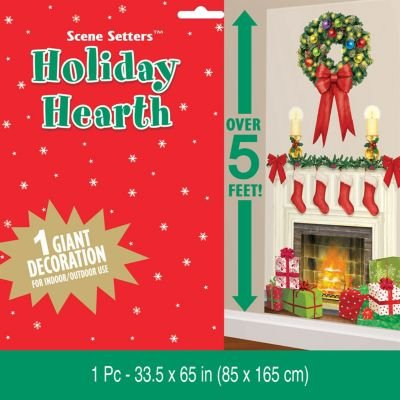 Amscan Holiday Hearth Fireplace Giant Scene Setters Add‑Ons, Multicolor, 65