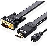 Ugreen Active Adaptateur Câble HDMI vers VGA avec Micro USB pour Alimentation Supporte 1080p 60Hz Compatible avec TV Apple, Chromebook, Raspberry Pi, PC, Ordinateurs Portables, 2m 6ft, Noir