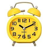 Hense Creative Colorful Design Mute Quartz Movement Twin Bell Alarm Clock With Nightlight HA16 (Yellow)
