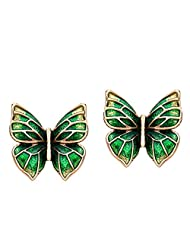 Ananth Jewels Enamel Rose Gold Plated Animal Butterfly Charm Fashion Stud Earrings For Women