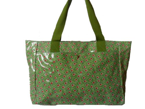 Gossip Girl - Oilcloth Day Bucket Bag Tote Handbag Floral / Flower - KEMPTON ROSE GREEN