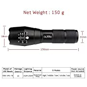 Outlite A100 900 High Lumens Ultra Bright - CREE XML T6 LED Tactical Flashlight ?Portable Outdoor Water Resistant Torch?with Adjustable Focus and 5 Light Modes for Camping Hiking etc