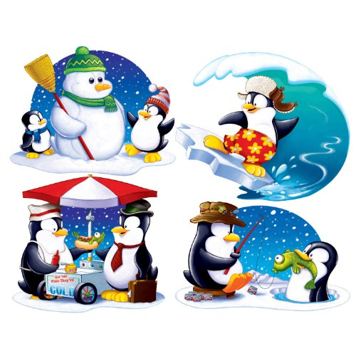 Beistle 4-Pack Penguin Cutouts, 16-Inch