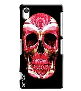 Omnam Red Face Skelton On Black Background Printed Designer Back Cover Case For Sony Xperia Z2