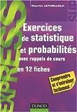echange, troc Maurice Lethielleux - Exercices de statistique et probabilités