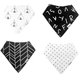 Bibs,Baby Bandana Drool Bibs With Snaps For Boys And Girls Set 4 Pack Of Extra Absorbent Organic Cotton Modern...