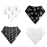Bibs,Baby Bandana Drool Bibs with Snaps for Boys and Girls Set 4 Pack of Extra Absorbent Organic Cotton Modern Baby Gift Set for Drooling Feeding and Teething