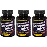1000 MG Resveratrol Extreme Juice Capsules (3 Bottles) Resveratrol Juice capsules TM 3 Months 180 pills HIGHLY POTENT Resveratrol capsules. 3 MONTH GUARANTEE. TWICE AS POTENT AS many RESVERATROL, Resveratrol Juice Extreme 2 capsules = 1000mg from Grapes