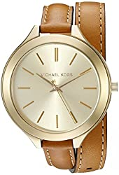 Michael Kors Women's MK2256 Runway Watch With Brown Leather Wrap Band