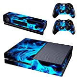 UUShop Protective Vinyl Skin Decal Cover for Microsoft Xbox One Console wrap sticker skins with two Free wireless controller decals Blue Fire Flame