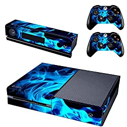 Elton Blue Fire Flame Theme Skin Sticker Cover for Xbox One Console, Kinect & Controllers
