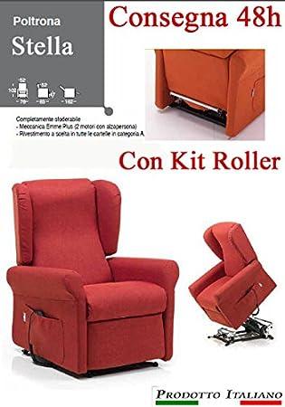 Poltrona Relax Stella completa di Alzapersona e Kit Roller 2 Motori Sfoderabile Consegna 48 Ore