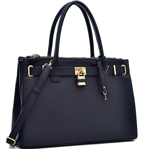 dasein-faux-leather-padlock-structured-briefcase-satchel-handbag-tablet-ipad-bag-black