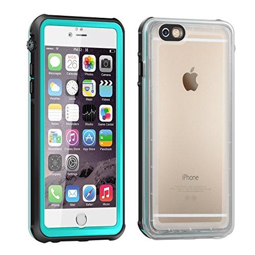 Eonfine-正規品 iPhone 6s / 6 用 防水ケース 4.7インチ フルプロテクションカバー 透明ケース クリア 薄 防水 防雪 防塵 耐衝撃 落下防止 IP68 指紋認証対応 アイフォンケース ティール