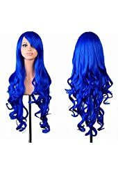 EmaxDesign Wigs 32 Inch Cosplay Wig For Women With Wig Cap and Comb(Dark Blue)