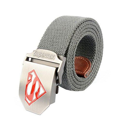 Nanxson(TM) unisex Outdoor tactics Canvas superman logo buckle Belt Leather Inlay PDM0008 (05)
