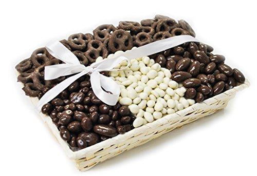 6210 Gift Tray W/Silk Bow-NSA Milk Chocolate Bridge Mix & NSA Mini Pretzels & NSA Yogurt Covered Raisins & NSA Milk Almonds-12inch