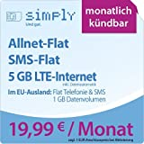 simply LTE 5000 [SIM, Micro-SIM und Nano-SIM] monatlich kündbar (5 GB LTE-Internet mit max. 50 MBit/s inkl. Datenautomatik, Telefonie-Flat, SMS-Flat, aus dem EU-Ausland in alle EU-Netze: Telefonie-und SMS-Flat und 1 GB Internetvolumen, 19,99 Euro/Monat) O2-Netz