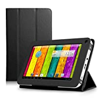ProntoTec Ultra Slim Lightweight Smart-shell Stand Leather Case Cover for 7 Inch ProntoTec A20 Android Tablet(Black) by ProntoTec