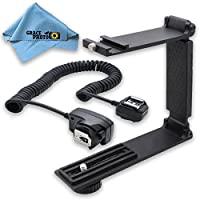 Mini Portable Folding Bracket + Off-Camera Shoe Cord + Cleaning Cloth For Canon Rebel SL1, T3i, T5, T5i, T6, T6i, T6s
