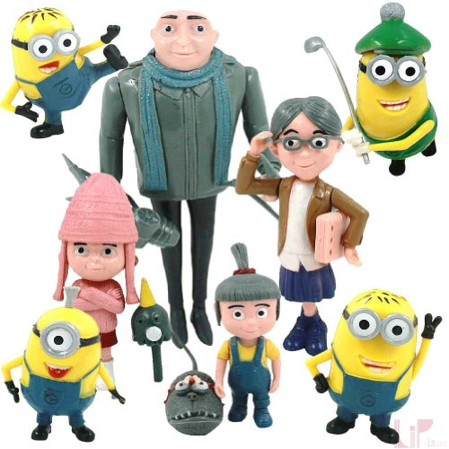 Ghope 8 PCS Despicable Me Minion Toy 3D Eyes Dave Tim Jorge PVC Action Figures