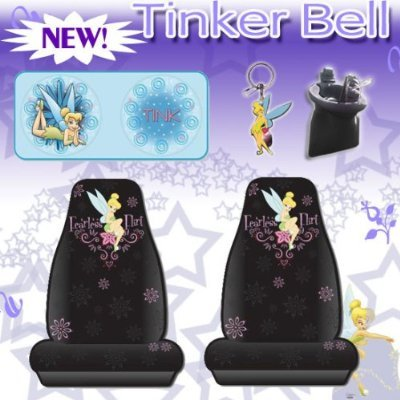 5 Pc Car Accessories- Tinkerbell Fearless Flirt Car Seat Covers Sundshade, Keychain and Air Vent Pocket Pouch