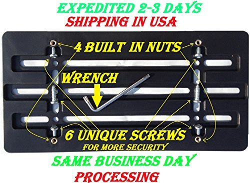 Universal Front Bumper License Plate Bracket + 6 Unique Screws and Wrench Kit (Universal License Plate Bracket compare prices)