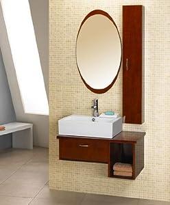 DreamLine Ceramic Bathroom Vanity DL-DLVRB-133-RO. W 30'' x H 20 3/4'' x D 19 3/4'', Red Oak, Ceramic/Wood. Mirror included