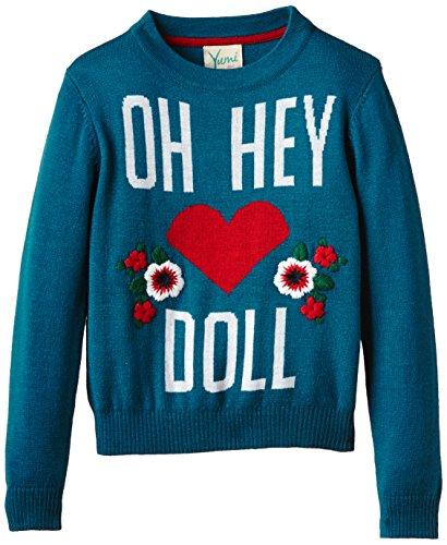 Uttam Kids - Oh Hey Doll Jumper, Maglione per bambine e ragazze, verde (blaugrün), 13 anni (158 cm)