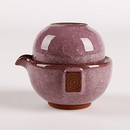 Dehua Porcelain Ice Crack Chinese Kung Fu Teaset,porcelain China Gong Fu Tea Set,1teapot & 1tea Cup,portable Travel Tea Set (violet)