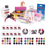 Nail Art kit,SHS® Professionale Kit per manicure pedicure unghie ,Pennelli,GEL UV ,Solvente Speciale , Ruota strass, ricostruzione unghie glitter,DIY Nail Art