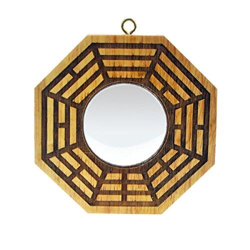 Feng Shui Peach Legno Bagua specchi Pakua 4inch, Convex