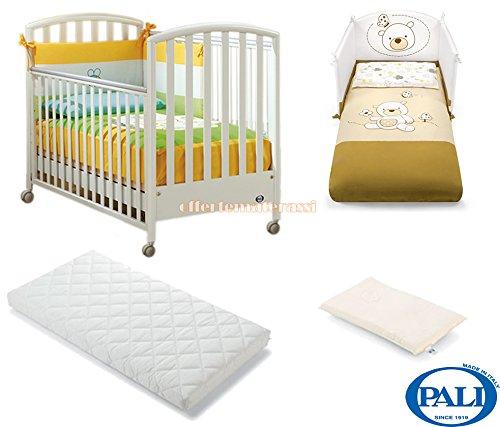 Lettino Pali Ciak bianco + materassino Pali Evo + cuscino baby antisoffoco + Set tessile beige