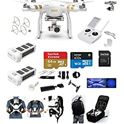 DJI Phantom 3 Professional (Pro) 4K Video Camera EVERYTHING YOU NEED Kit + 2 Total DJI Batteries + Snap on Guards + 64GB SD Card w/Reader + Light Strip, Headlight + Carry System w/Harness + Backpack