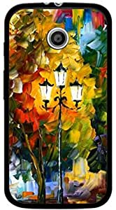 Dot Print Back Cover For Moto E Lampost Oil Painting PRINTED CASE