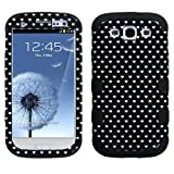 Niceeshop(TM) Black 3 in 1 White Heart Polka Dot PC Silicone Combo Hybrid Case Cover for Samsung Galaxy S3 i9300 With Screen Protector