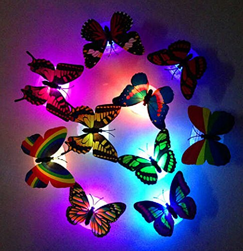 Famixyal 5 pcs Colorful LED Multicolor Butterfly Night Light For Wedding Room Children Bedside Lamp 7 Color Changing Paste Butterfly Light-emitting Butterfly Wall Stickers Lamp Decorative Lights Nightlight