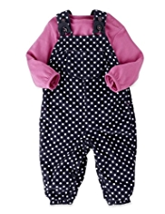 2 Piece Pure Cotton Spotted Corduroy Dungaree Outfit