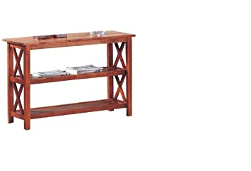 Cross Design Brown Finish Console Sofa Table