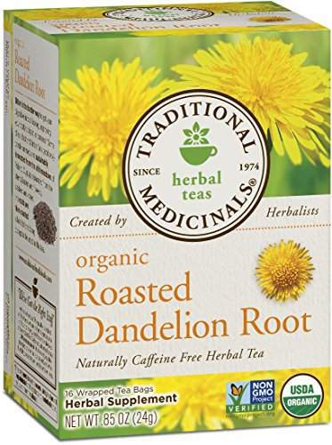 Traditional Medicinals Organic Roasted Dandelion Root, 16-Count Boxes (Pack of 6)