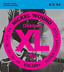 D'Addario EXL120+ XL Nickel Wound Super Light Plus  (.0095-.044) Electric Guitar Strings