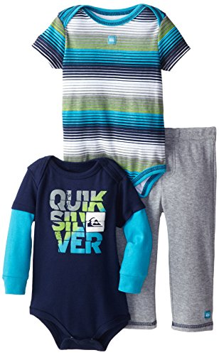 Quiksilver Baby-Boys Infant Twofer Navy Blue Stripes Short Sleeve Bodysuit With Pull On Pants, Multi, 18 Months front-818531