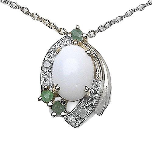 Schmuck-Schmidt Collier/Kette mit Opal-Smaragd-Anhänger 1,14 Karat-Silber Rhodiniert