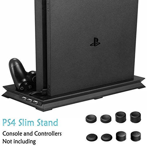 ADVcer PS4 Slim Vertical Stand with Dual Cooling Fan, Dual Controller Charging Station and 3 Extra USB Port + 8 FREE Controller Grip Cover Caps for Playstation 4 Slim Console and DualShock 4 Gamepads (Playstation Game Console compare prices)