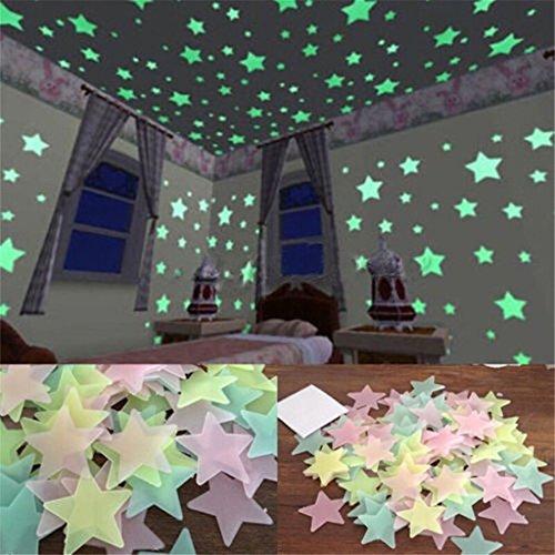 bieten linkings 100pcs wandtattoo fluoreszierende sterne nachtleuchtend sticker aufkleber. Black Bedroom Furniture Sets. Home Design Ideas